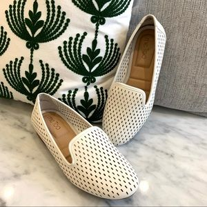 Me Too Perforated Leather Slip On Loafers, Flats